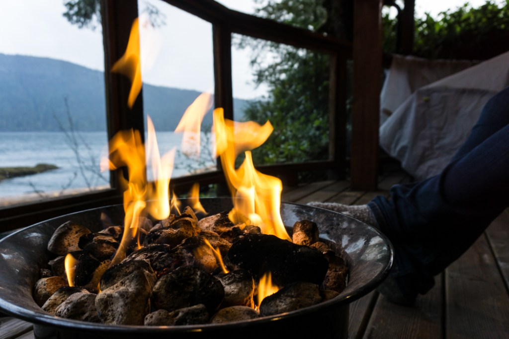 Propane fire on the patio of the Wild Renfrew cottages in Port Renfrew, BC