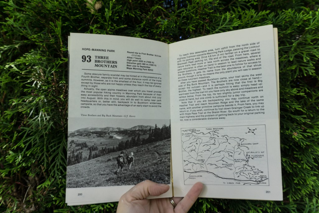 Hike 93 to the Three Brothers in the second edition of 103 Hikes. Learn about the history of hiking guide books in BC from the 1st edition of 103 hikes in 1973 to the new 105 Hikes in and Around Southwestern British Columbia, published in 2018.