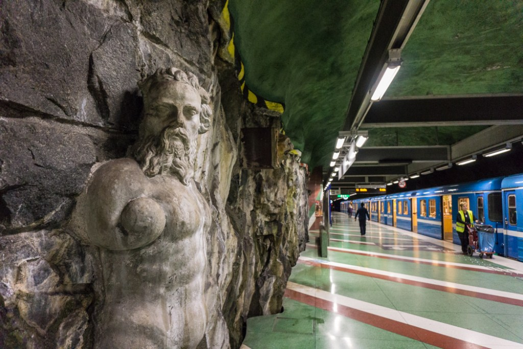 Art at Kungstradgarden Station on the Stockholm subway. Find out how to visit this station and 11 others on a self-guided tour of Stockholm subway art.