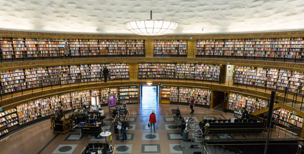 Stockholm's Public Library. Find out how to visit the library and 12 art-filled subway stations on a self-guided tour of Stockholm subway art.