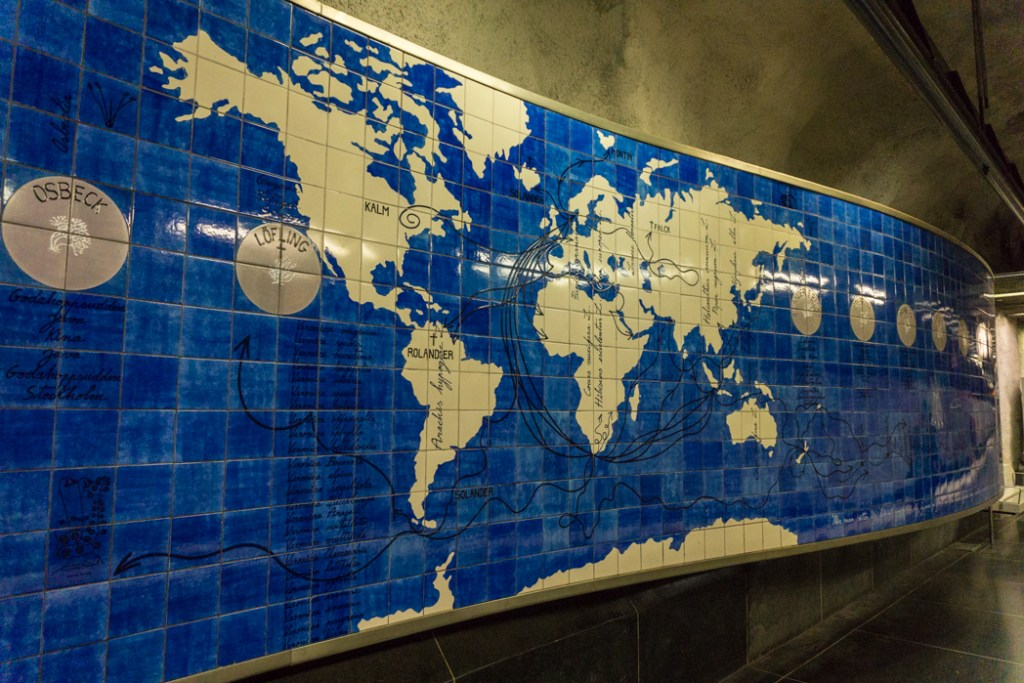 Art at Universitetet Station on the Stockholm subway. Find out how to visit this station and 11 others on a self-guided tour of Stockholm subway art.