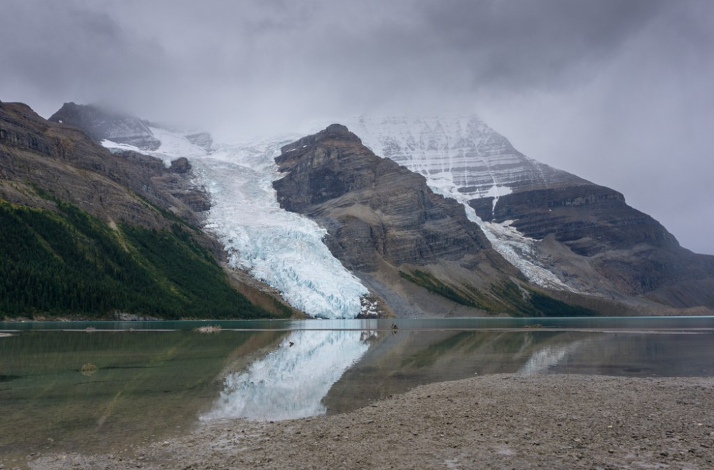 Berg Glacier reflecting in Berg Lake. The Ultimate Guide to Hiking the Berg Lake Trail in Mount Robson Provincial Park in the Canadian Rockies