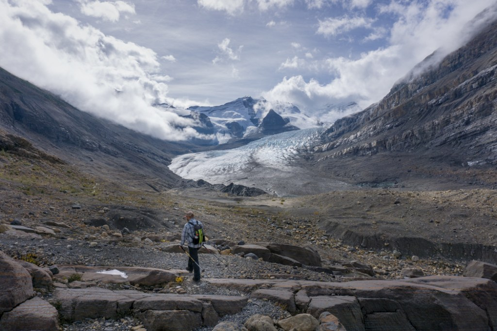Hiking near the Robson Glacier at Berg Lake. The Ultimate Guide to Hiking the Berg Lake Trail in Mount Robson Provincial Park in the Canadian Rockies