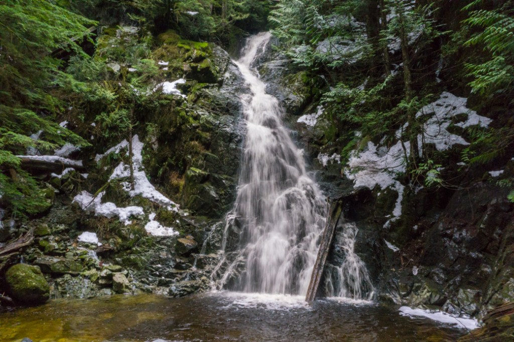 Sawblade Falls on Burke Mountain in Coquitlam, BC. Just one of over 40 waterfalls near Vancouver you can hike to.