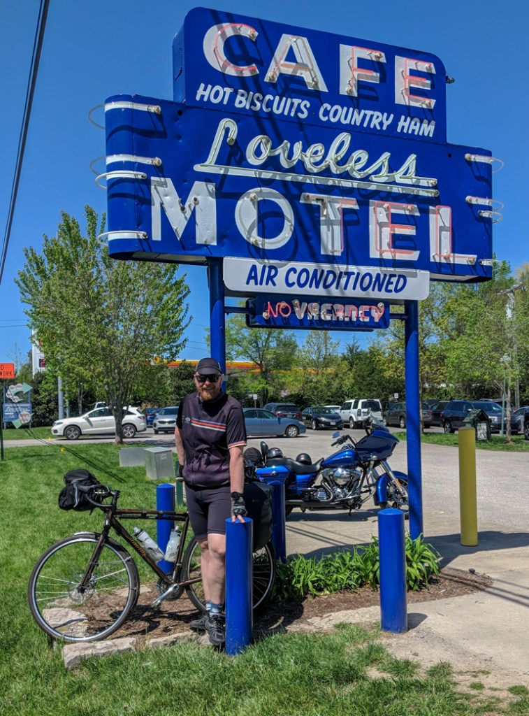 The Loveless Cafe near Nashville Tennessee. Bike at Tishomingo State Park campground along the Natchez Trace. Learn how to cycle tour the Natchez Trace Parkway in this detailed guide.