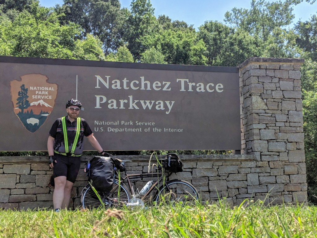 The southern terminus of the Natchez Trace at Natchez, MS. Learn how to cycle tour the Natchez Trace Parkway in this detailed guide.