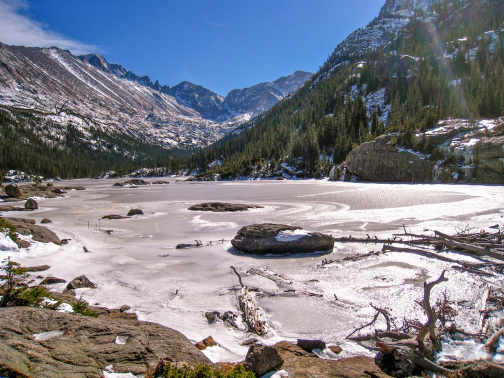 Black Lake in Rocky Mountain National Park. One of the best lake hikes in Colorado.