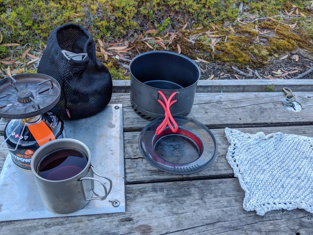 Our kitchen set up. Find out what else was on our Overland Track packing list.
