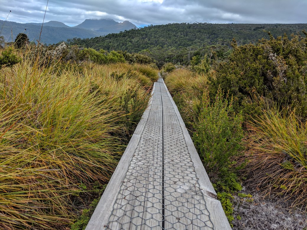 Duckboard on the Overland Track. Get your info on the standard 6-Day Overland Track Itinerary plus lots of itinerary options for 4 to 12 day trips.