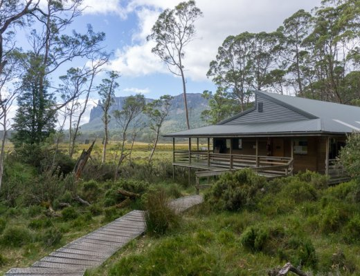 Pelion Hut on the Overland Track. One of the Overland Track huts open to self-guided walkers.