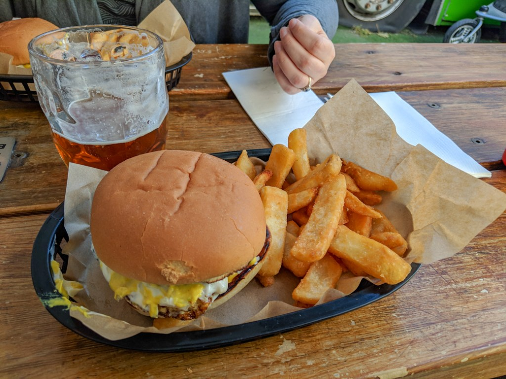 Burgers and beer at Preachers in the Battery Point area of Hobart, Tasmania