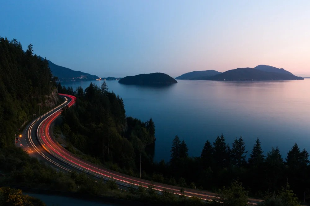 A timelapse of highway 99 (the Sea to Sky highway) at night