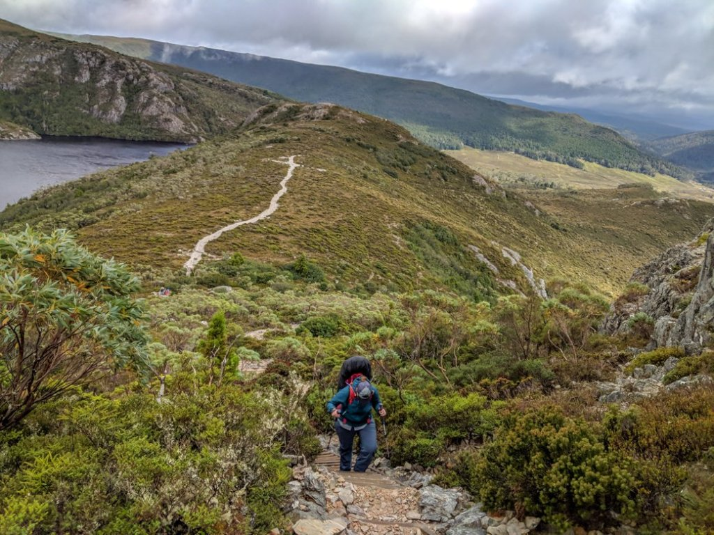 Climbing up to Marion's Lookout near Cradle Mountain on the Overland Track