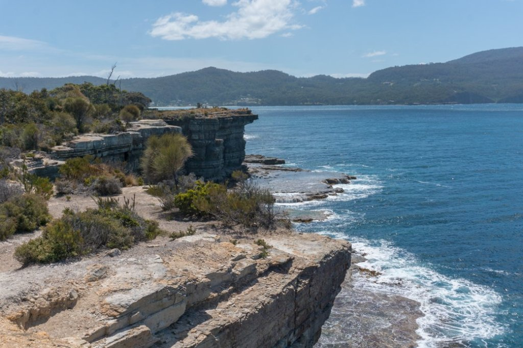 The view from Fossil Bay Lookout on the Tasman Peninsula in Tasmania, Australia