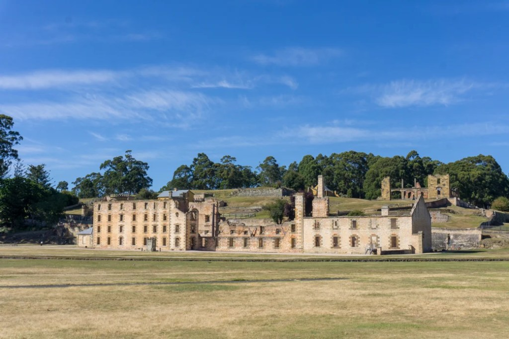 The penitentiary building at Port Arthur Historic Site on the Tasman Peninsula in Tasmania, Australia. The Port Arthur Historic site is one of the best things to do on the Tasman Peninsula.