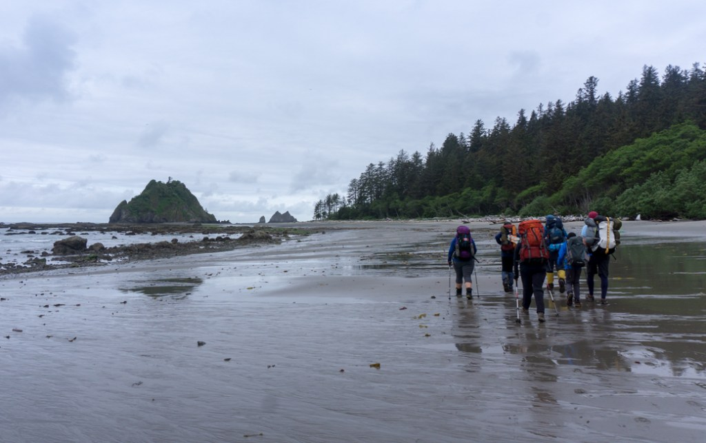 Hiking on the beach between Third Beach and Toleak Point in Olympic National Park