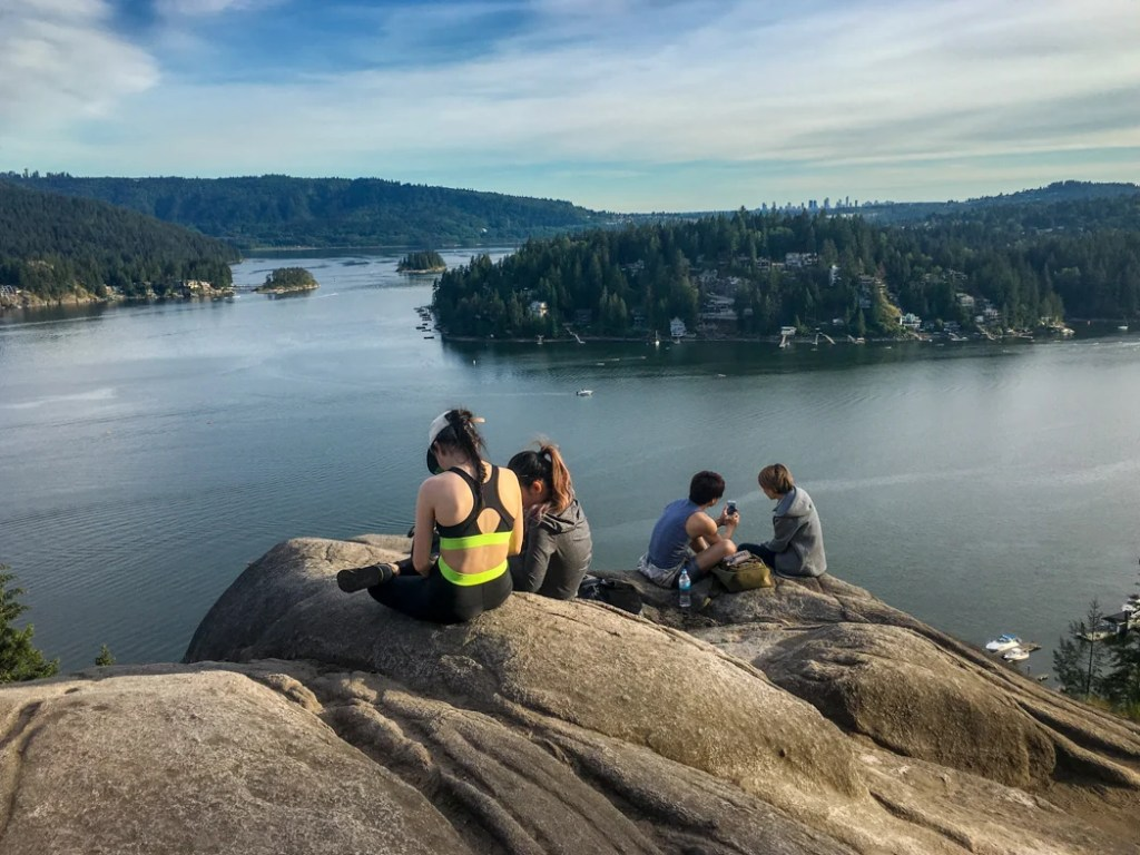 The view from Quarry Rock in Deep Cove. One of the hiking adventures in the book Active Vancouver by Roy Jantzen.