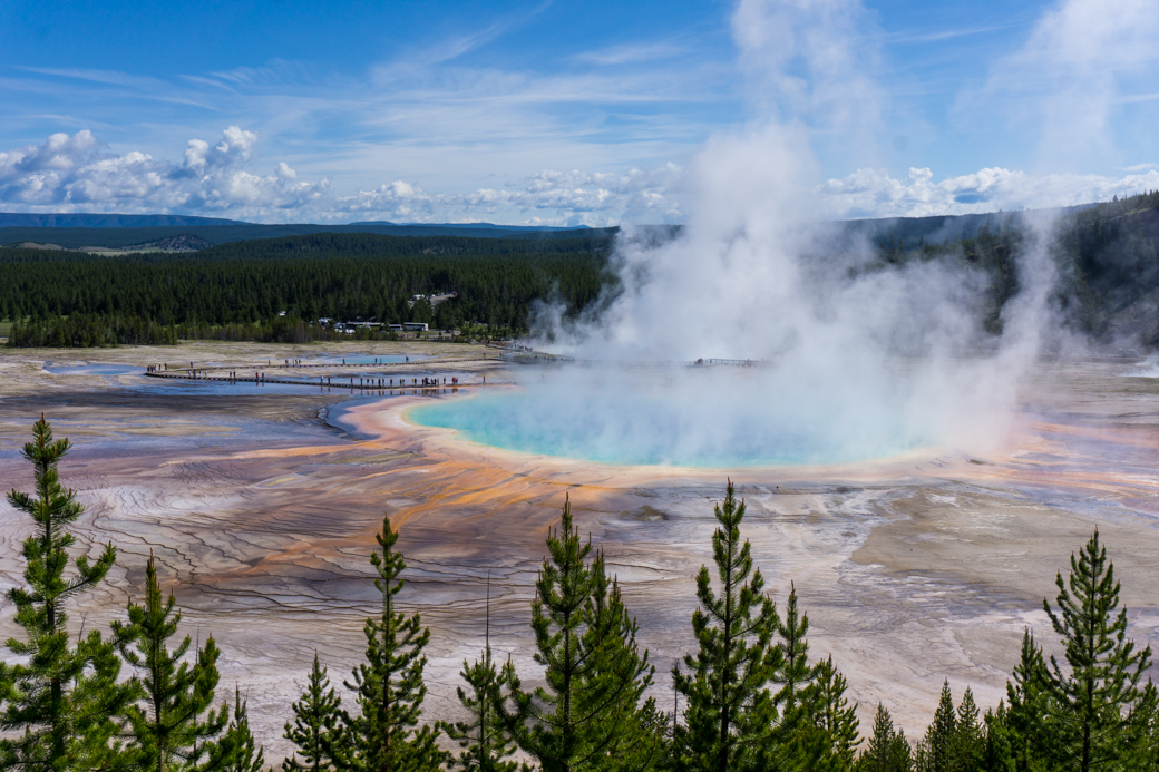 The view of Grand Prismatic Spring from above. Get your Yellowstone packing list to get prepped for your trip.