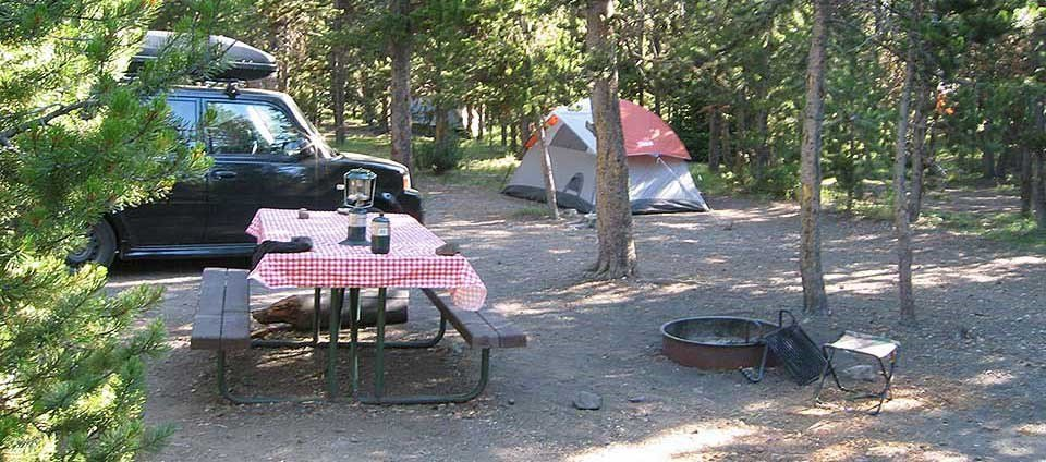 Campsite at Indian Creek Campground in Yellowstone National Park