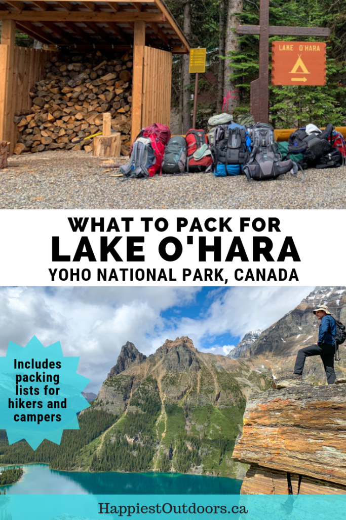 What to pack for Lake O'Hara in Yoho National Park, Canada. Lake O'Hara packing list for hikers and campers #LakeOHara #camping #hiking #BritishColumbia #Canada #CanadianRockies #packinglist #YohoNationalPark