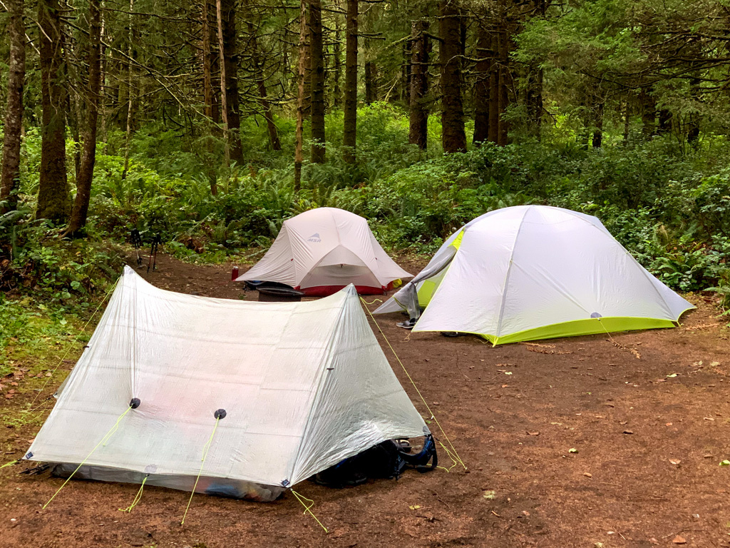 Tents in a rainforest campground in British Columbia. Camping is one of many great weekend getaways from Vancouver
