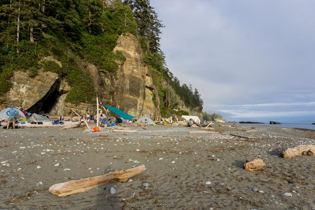 Camping at Tsusiat Falls on the West Coast Trail. Get the complete West Coast Trail packing list.