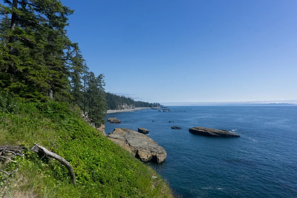 The view of Tsusiat beach from a bluff on the West Coast Trail