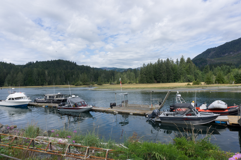 Butch's dock and the Gordon River ferry at the south end of the West Coast Trail