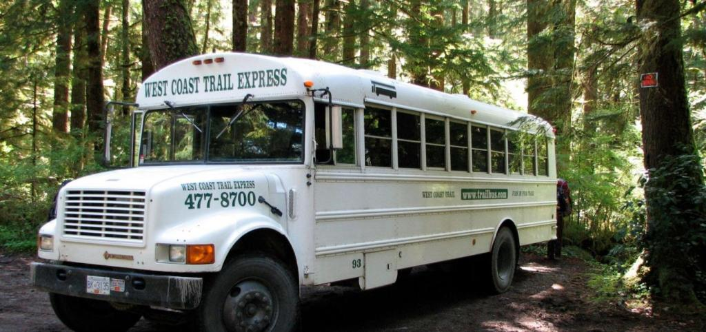 The West Coast Trail Express bus provides service to all West Coast Trail trailheads.