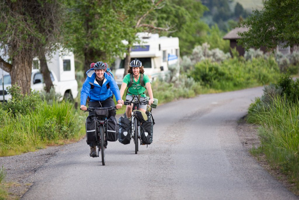 Cycle tourers at a Yellowstone campground