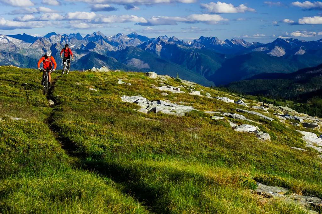 Mountain biking Frisby Ridge near Revelstoke, BC