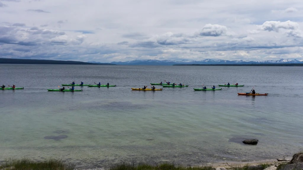 A kayak tour on Yellowstone Lake in the West Thumb Area