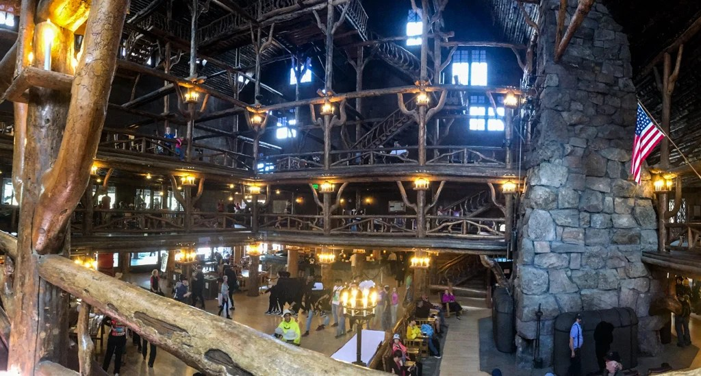 The interior of Yellowstone's historical Old Faithful Inn
