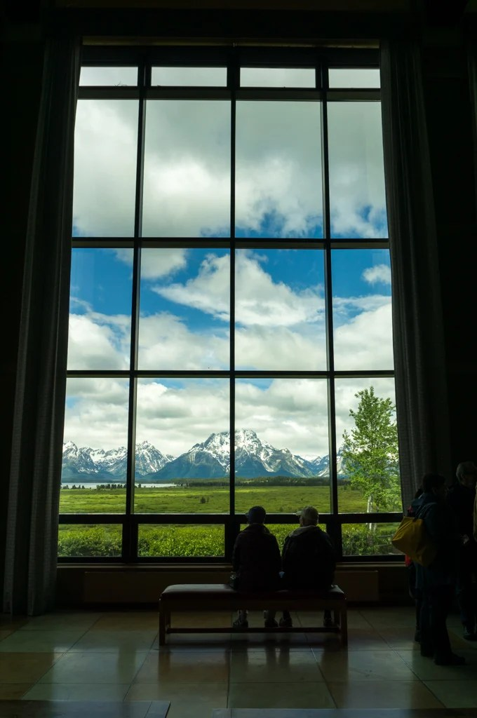 Looking out through the windows at the Jackson Lake Lodge