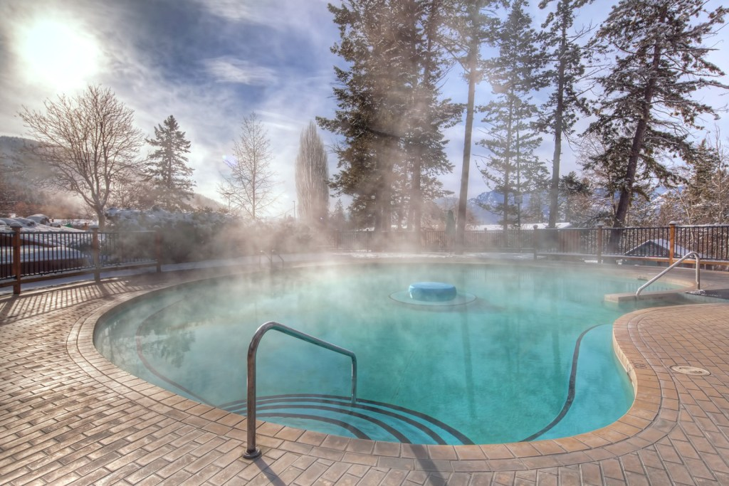 A pool at Fairmont Hot Springs Resort in British Columbia, Canada