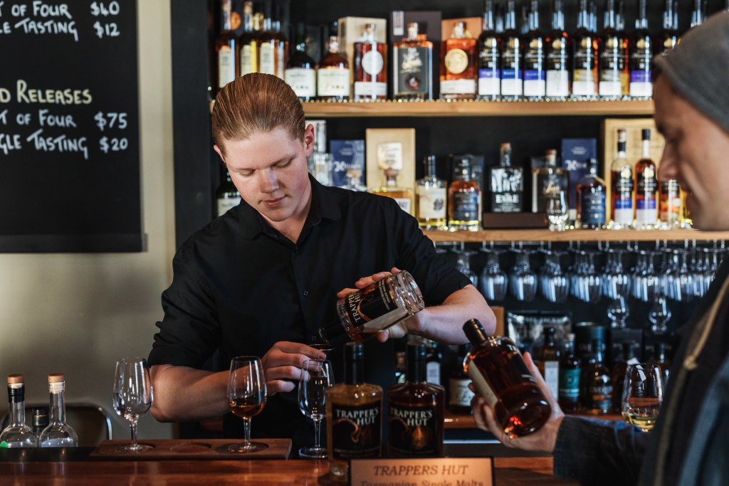 The bar at Tasmanian House of Whiskey on Bruny Island