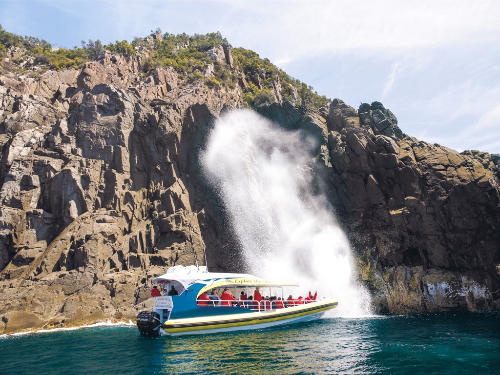 A tour boat with Bruny Island Cruises