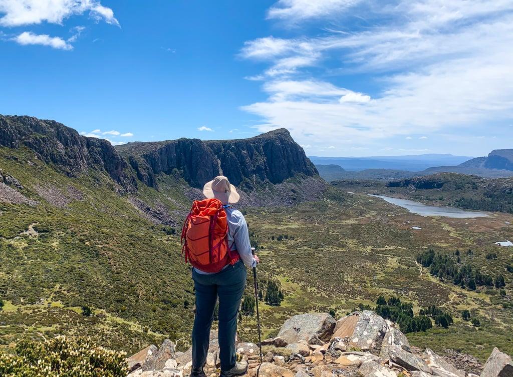 A hiker in Walls of Jerusalem National Park in Tasmania