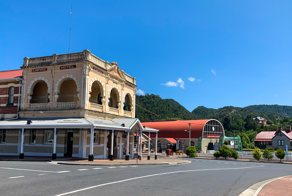The main street in Queenstown, Tasmania