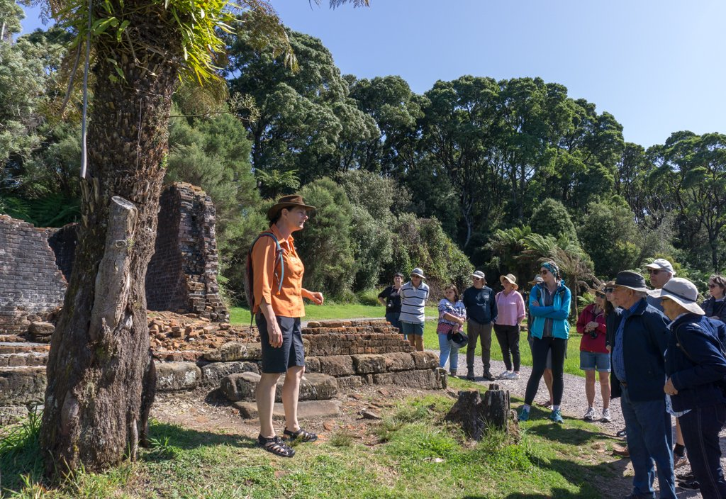 Talking a walking tour on Sarah Island, Tasmania
