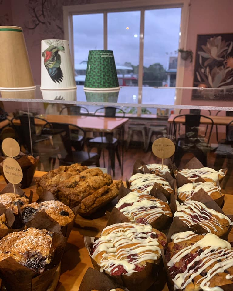 Muffins and baked goods at The Coffee Shack in Strahan