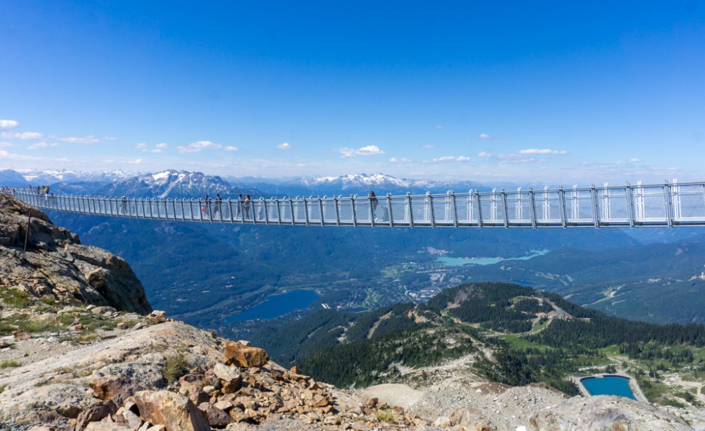 The suspension bridge at Whistler Peak with a view of the Whistler valley below