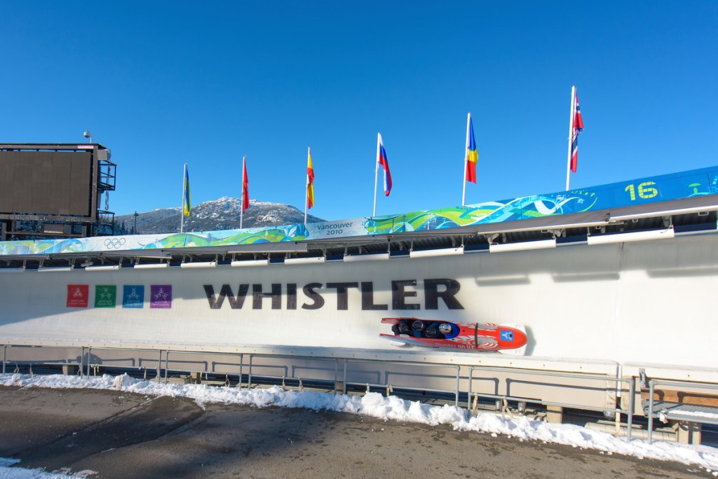 A bobsleigh on the track at the Whistler Sliding Centre