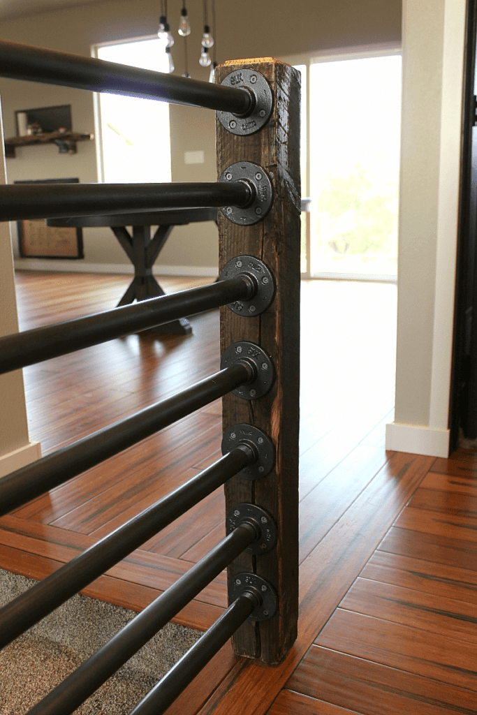 Rustic Industrial Stair Banister Happihomemade With Sammi Ricke | Galvanized Pipe Stair Railing | Garden | Industrial | Metal | Used Deck Railing | Interior
