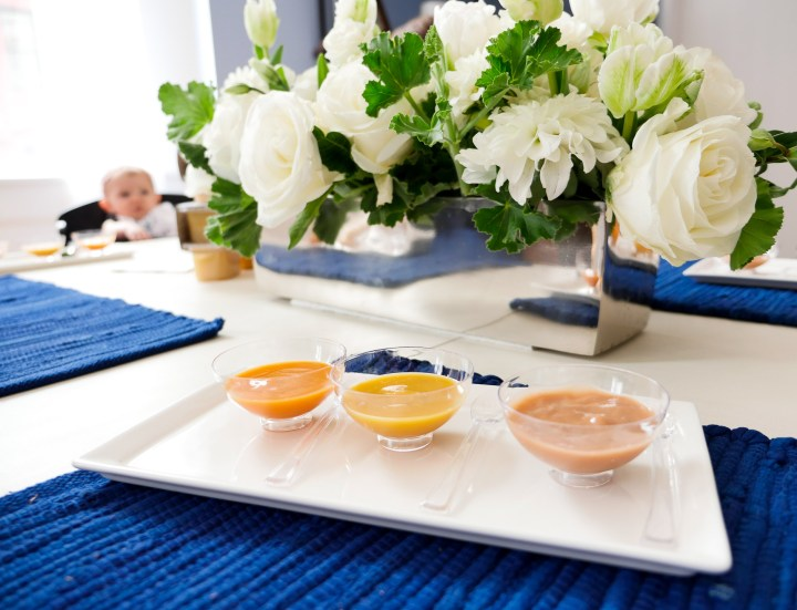 Sitting around the taste testing table at the Gerber Babies event in NYC where a baby tested out new Gerber flavors, as photographed by Eva Amurri Martino for lifestyle blog Happily Eva After