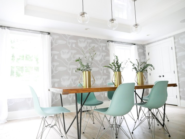 The industrial yet bright dining room at the connecticut home of lifestyle and motherhood blogger Eva Amurri Martino