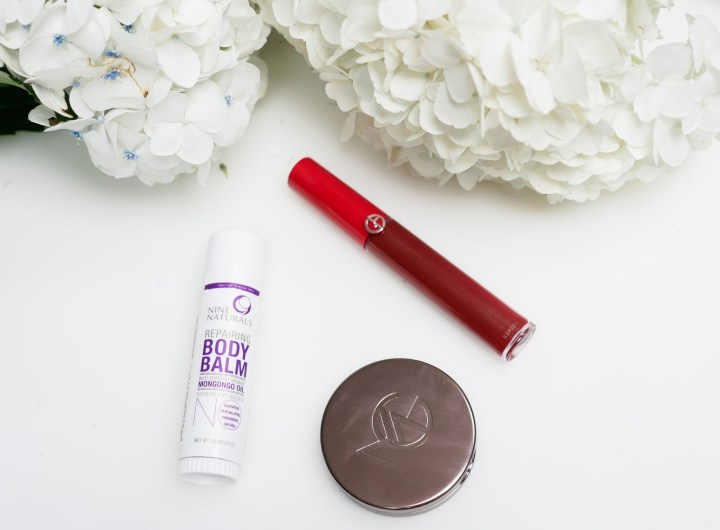 Eva Amurri Martino's monthly beauty picks for Happily Eva After, featuring a liquid lipstick, a blush, and a moisturizing body stick