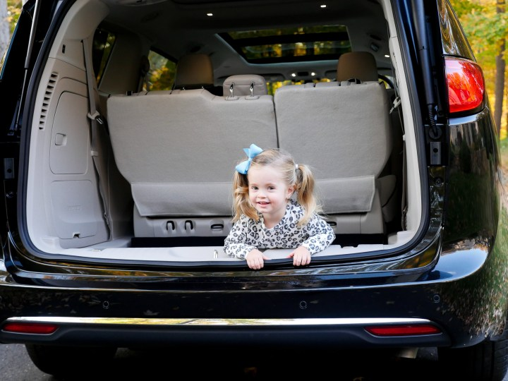 Marlowe Martino hiding in the trunk of the Chrysler Pacifica