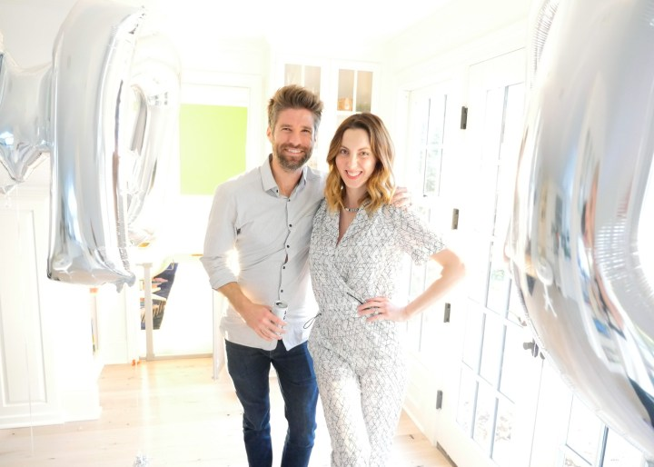Kyle Martino and Eva Amurri Martino at the Sip and See for their newborn son, Major James