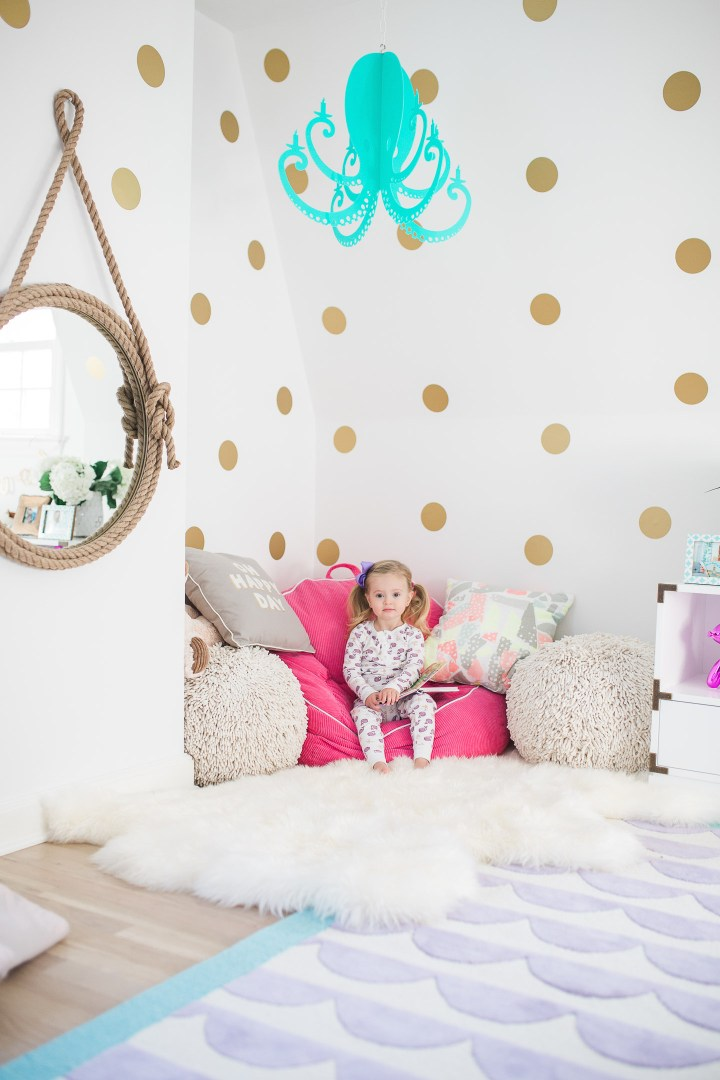 Marlowe Martino pictured in her bedroom designed by mother Eva Amurri Martino of lifestyle and motherhood blog Happily Eva After